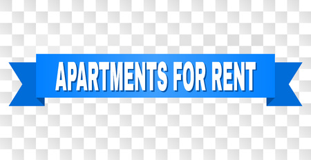 APARTMENTS FOR RENT text on a ribbon. Designed with white title and blue tape. Vector banner with APARTMENTS FOR RENT tag on a transparent background.