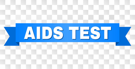 AIDS TEST text on a ribbon. Designed with white caption and blue tape. Vector banner with AIDS TEST tag on a transparent background. Stock Illustratie