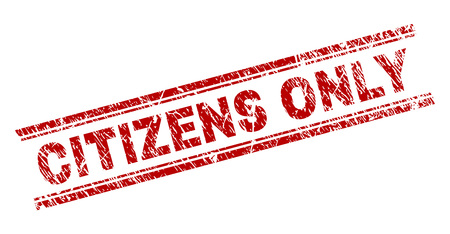 CITIZENS ONLY seal print with grunge texture. Red vector rubber print of CITIZENS ONLY caption with scratched texture. Text caption is placed between double parallel lines.