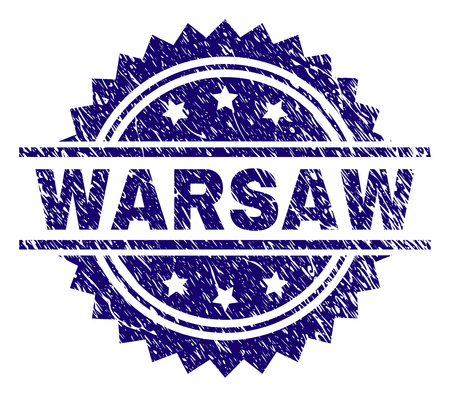 WARSAW stamp seal watermark with distress style. Blue vector rubber print of WARSAW title with scratched texture.