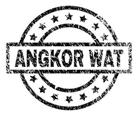 ANGKOR WAT stamp seal watermark with distress style. Designed with rectangle, circles and stars. Black vector rubber print of ANGKOR WAT caption with dust texture.