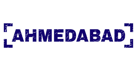 AHMEDABAD caption seal stamp with grunge texture. Text title is placed between corners. Blue vector rubber print of AHMEDABAD with grunge texture.
