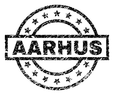 AARHUS stamp seal watermark with distress style. Designed with rectangle, circles and stars. Black vector rubber print of AARHUS caption with grunge texture.