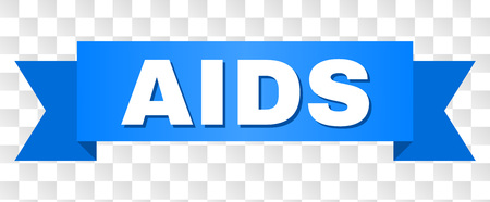 AIDS text on a ribbon. Designed with white title and blue stripe. Vector banner with AIDS tag on a transparent background.