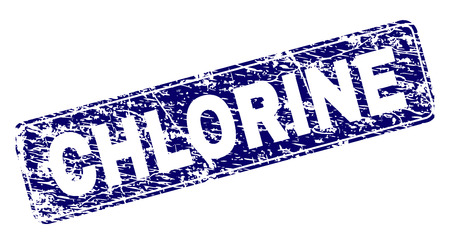 CHLORINE stamp seal print with distress style. Seal shape is a rounded rectangle with frame. Blue vector rubber print of CHLORINE text with dust style. Stock Illustratie