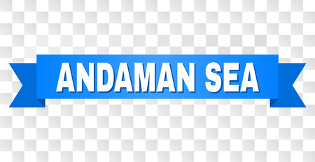 ANDAMAN SEA text on a ribbon. Designed with white title and blue stripe. Vector banner with ANDAMAN SEA tag on a transparent background.