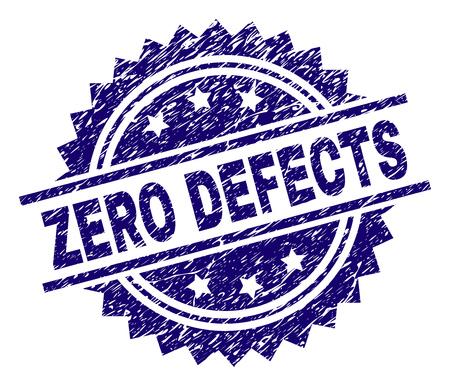 Marca de agua de sello de sello CERO DEFECTOS con estilo de socorro. Impresión de goma de vector azul de etiqueta CERO DEFECTOS con textura corroída.