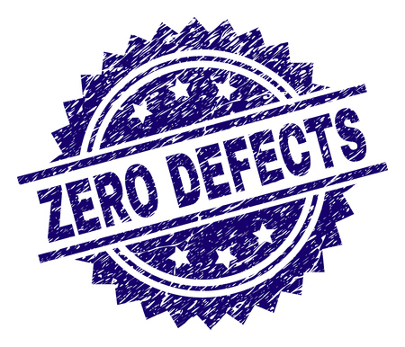 ZERO DEFECTS stamp seal watermark with distress style. Blue vector rubber print of ZERO DEFECTS tag with corroded texture.