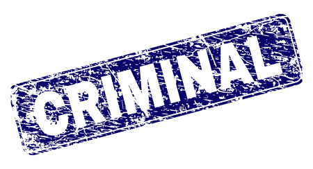 CRIMINAL stamp seal print with grunge style. Seal shape is a rounded rectangle with frame. Blue vector rubber print of CRIMINAL tag with scratched style. 일러스트