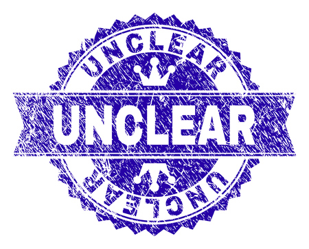 UNCLEAR rosette seal overlay with distress texture. Designed with round rosette, ribbon and small crowns. Blue vector rubber watermark of UNCLEAR caption with corroded texture.