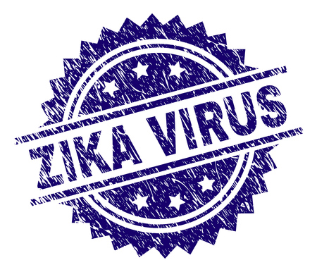 ZIKA VIRUS stamp seal watermark with distress style. Blue vector rubber print of ZIKA VIRUS title with grunge texture.