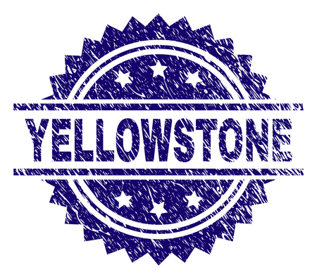 YELLOWSTONE stamp seal watermark with distress style. Blue vector rubber print of YELLOWSTONE tag with retro texture. Illusztráció
