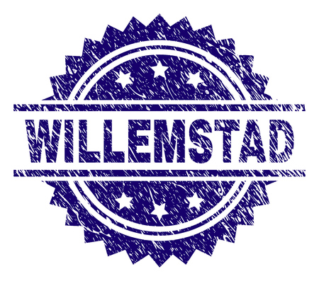 WILLEMSTAD stamp seal watermark with distress style. Blue vector rubber print of WILLEMSTAD title with unclean texture.
