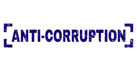 ANTI-CORRUPTION tag seal print with corroded texture. Text title is placed inside corners. Blue vector rubber print of ANTI-CORRUPTION with dirty texture.