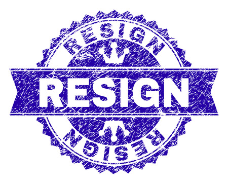 RESIGN rosette seal watermark with grunge style. Designed with round rosette, ribbon and small crowns. Blue vector rubber watermark of RESIGN text with grunge texture.