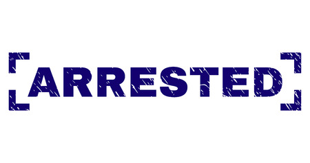 ARRESTED text seal watermark with distress texture. Text caption is placed between corners. Blue vector rubber print of ARRESTED with dirty texture.