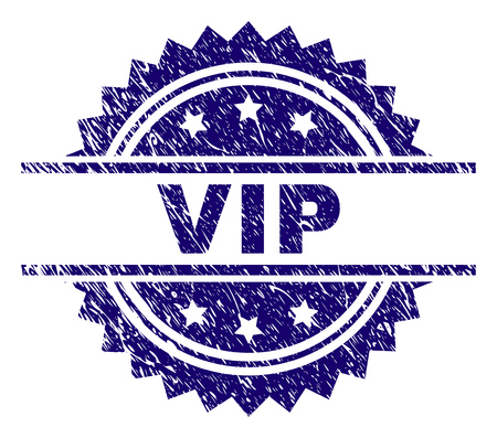 VIP stamp seal watermark with distress style. Blue vector rubber print of VIP title with scratched texture. Çizim