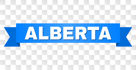 ALBERTA text on a ribbon. Designed with white title and blue tape. Vector banner with ALBERTA tag on a transparent background. Illustration