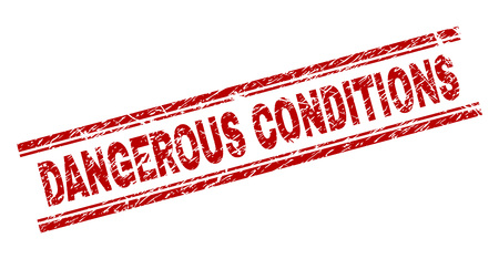 DANGEROUS CONDITIONS seal stamp with corroded style. Red vector rubber print of DANGEROUS CONDITIONS text with grunge texture. Text title is placed between double parallel lines.