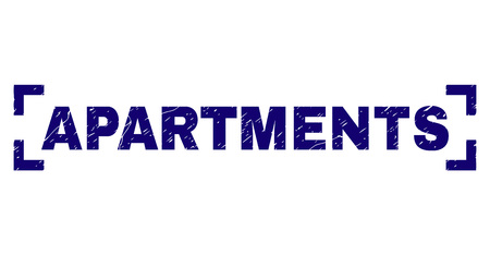 APARTMENTS tag seal print with grunge texture. Text tag is placed between corners. Blue vector rubber print of APARTMENTS with dust texture.