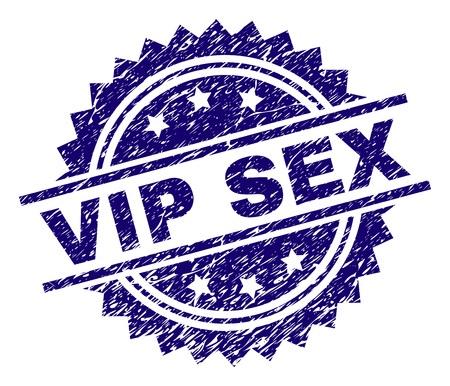 VIP SEX stamp seal watermark with distress style. Blue vector rubber print of VIP SEX caption with unclean texture.