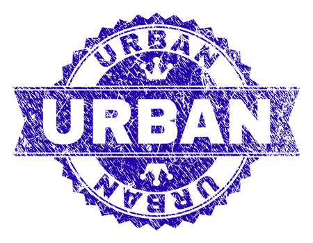 URBAN rosette stamp seal watermark with grunge style. Designed with round rosette, ribbon and small crowns. Blue vector rubber watermark of URBAN text with grunge style.