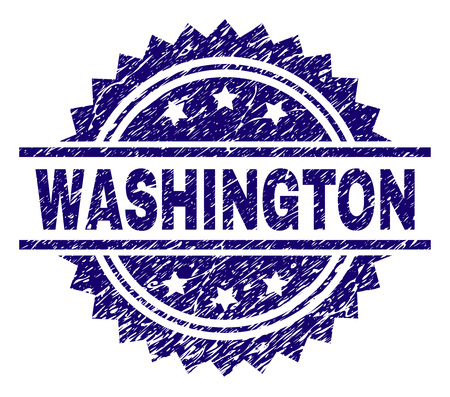 WASHINGTON stamp seal watermark with distress style. Blue vector rubber print of WASHINGTON label with grunge texture.