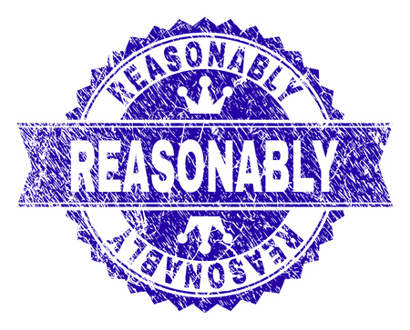 GÜNSTIG Rosettensiegel-Wasserzeichen mit Grunge-Textur. Entworfen mit runder Rosette, Band und kleinen Kronen. Blaues Vektor-Gummi-Wasserzeichen des Titels REASONABLE mit Grunge-Textur.
