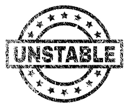 UNSTABLE stamp seal watermark with distress style. Designed with rectangle, circles and stars. Black vector rubber print of UNSTABLE caption with scratched texture. Ilustrace