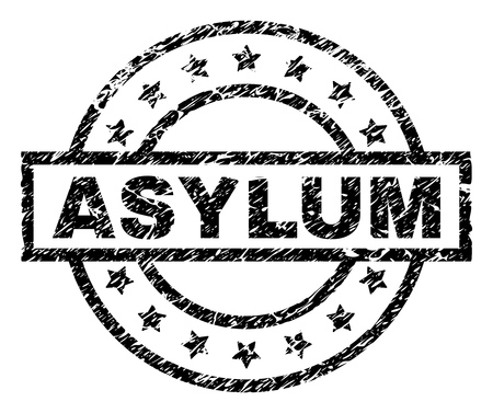 Filigrane de sceau de timbre ASYLUM avec style de détresse. Conçu avec un rectangle, des cercles et des étoiles. Impression en caoutchouc de vecteur noir de l'étiquette ASYLUM avec texture corrodée. Vecteurs