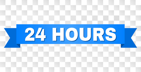 24 HOURS text on a ribbon. Designed with white caption and blue stripe. Vector banner with 24 HOURS tag on a transparent background.
