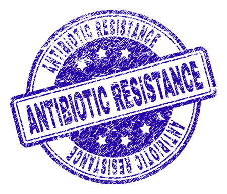ANTIBIOTIC RESISTANCE stamp seal imprint with grunge texture. Designed with rounded rectangles and circles. Blue vector rubber print of ANTIBIOTIC RESISTANCE title with grunge texture.