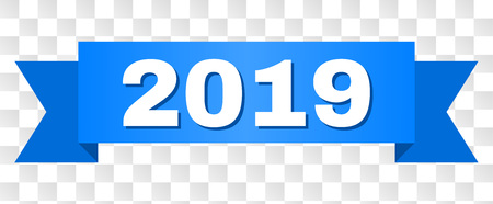 2019 text on a ribbon. Designed with white caption and blue tape. Vector banner with 2019 tag on a transparent background.