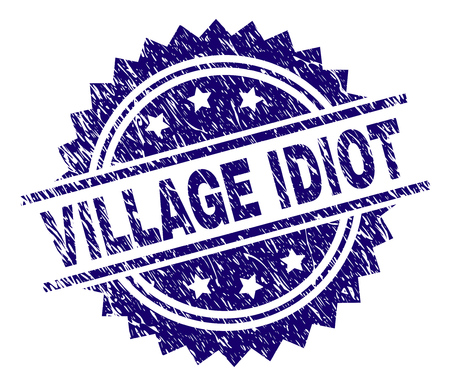 VILLAGE IDIOT stamp seal watermark with distress style. Blue vector rubber print of VILLAGE IDIOT title with corroded texture. Фото со стока - 126639380