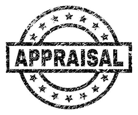 APPRAISAL stamp seal watermark with distress style. Designed with rectangle, circles and stars. Black vector rubber print of APPRAISAL label with grunge texture.