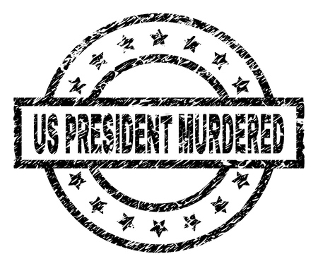 US PRESIDENT MURDERED stamp seal watermark with distress style. Designed with rectangle, circles and stars. Black vector rubber print of US PRESIDENT MURDERED title with grunge texture.