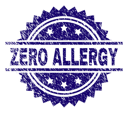 ZERO ALLERGY stamp seal watermark with distress style. Blue vector rubber print of ZERO ALLERGY text with unclean texture.
