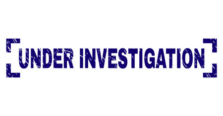 UNDER INVESTIGATION text seal print with distress effect. Text tag is placed inside corners. Blue vector rubber print of UNDER INVESTIGATION with unclean texture.