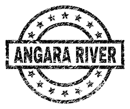 ANGARA RIVER stamp seal watermark with distress style. Designed with rectangle, circles and stars. Black vector rubber print of ANGARA RIVER label with dust texture. Illustration