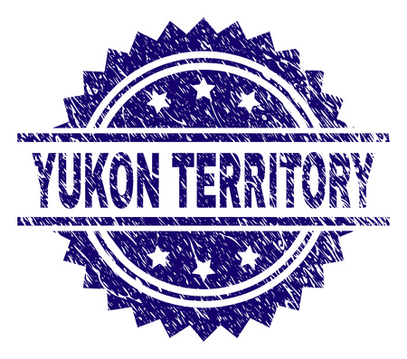 YUKON TERRITORY stamp seal watermark with distress style. Blue vector rubber print of YUKON TERRITORY tag with dust texture.