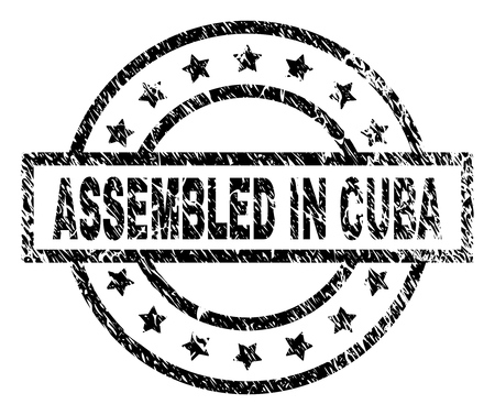 ASSEMBLED IN CUBA stamp seal watermark with distress style. Designed with rectangle, circles and stars. Black vector rubber print of ASSEMBLED IN CUBA caption with scratched texture.  イラスト・ベクター素材