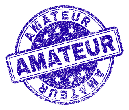 AMATEUR stamp seal imprint with grunge texture. Designed with rounded rectangles and circles. Blue vector rubber print of AMATEUR label with grunge texture.