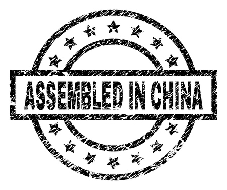 ASSEMBLED IN CHINA stamp seal watermark with distress style. Designed with rectangle, circles and stars. Black vector rubber print of ASSEMBLED IN CHINA title with unclean texture.