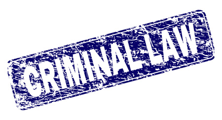 CRIMINAL LAW stamp seal print with distress style. Seal shape is a rounded rectangle with frame. Blue vector rubber print of CRIMINAL LAW label with grunge style.