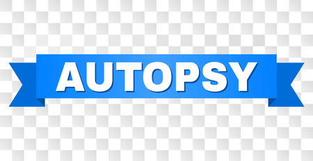 AUTOPSY text on a ribbon. Designed with white title and blue stripe. Vector banner with AUTOPSY tag on a transparent background.