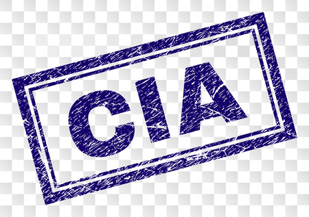 CIA stamp seal print with corroded style and double framed rectangle shape. Stamp is placed on a transparent background. Blue vector rubber print of CIA tag with corroded texture.