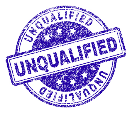 UNQUALIFIED stamp seal watermark with grunge texture. Designed with rounded rectangles and circles. Blue vector rubber print of UNQUALIFIED title with unclean texture.