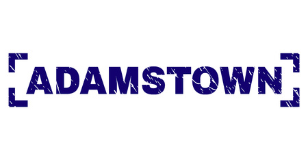 ADAMSTOWN text seal print with grunge texture. Text caption is placed inside corners. Blue vector rubber print of ADAMSTOWN with scratched texture. Illusztráció