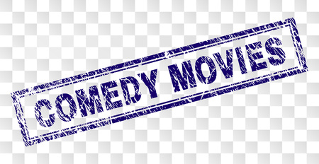 COMEDY MOVIES stamp seal print with grunge style and double framed rectangle shape. Stamp is placed on a transparent background. Blue vector rubber print of COMEDY MOVIES caption with grunge texture.