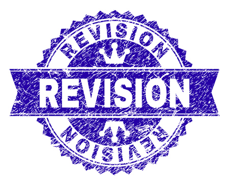 REVISION rosette seal watermark with grunge style. Designed with round rosette, ribbon and small crowns. Blue vector rubber watermark of REVISION title with scratched style. 版權商用圖片 - 114227407